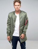 Alpha Industries Ma-1 Coat In Regular Fit Sage Green