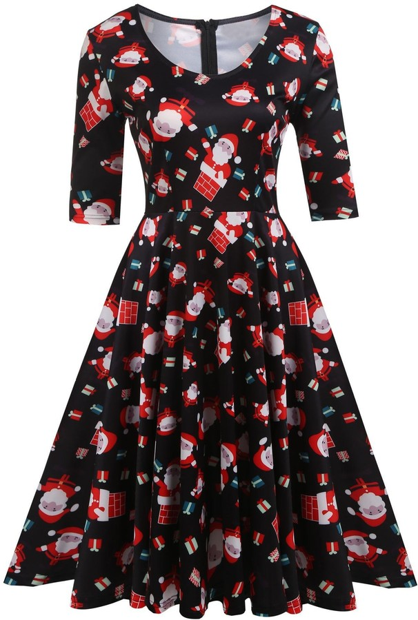 Thumbnail for your product : ELESOL Women's A-Line 3/4 Sleeve Pleated Cocktail Party Swing Dress Black/XXL