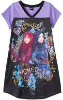 "Disney Disney's Descendants Evie & Mal Girls 6-14 ""#Wicked"" Graphic Dorm Nightgown"