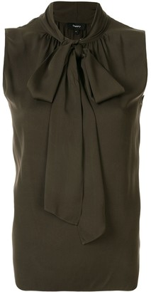 Theory sleeveless pussy bow blouse