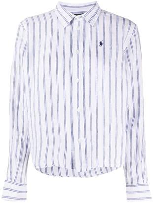 Polo Ralph Lauren Striped Print Cropped Shirt