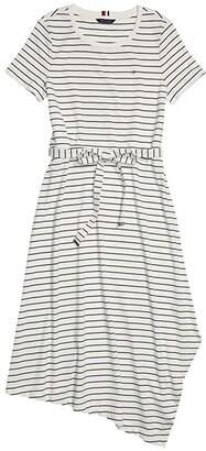 Tommy Hilfiger Adaptive Naomi Asymmetrical Short Sleeve Dress with Wide Neck Opening (Core Navy/Multi) Women's Dress