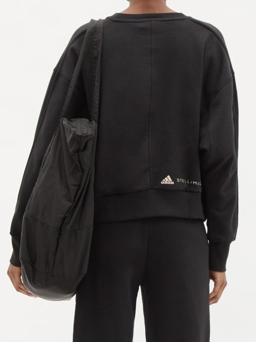 Thumbnail for your product : adidas by Stella McCartney Logo-print Organic Cotton-blend Jersey Sweatshirt - Black