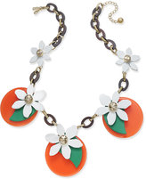 Kate Spade Gold-Tone Leather Orange Blossom Statement Necklace
