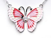 Alilang Pink Girl Enamel Painted Wings Butterfly Flying Summer Spring Pendant Necklace