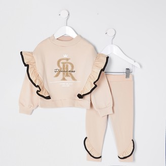 River Island Mini girls Beige 'Princess' frill outfit