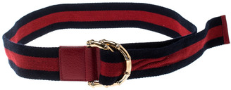 Gucci Navy Blue/Red Fabric Bamboo Web Belt 90 CM
