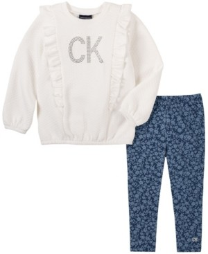 Calvin Klein Toddler Girl Quilted Fleece Top with Faux Knit Denim Legging, 2 Piece Set