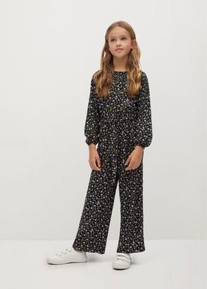 MANGO Floral-print long jumpsuit