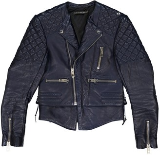 Balenciaga Navy Leather Jacket for Women