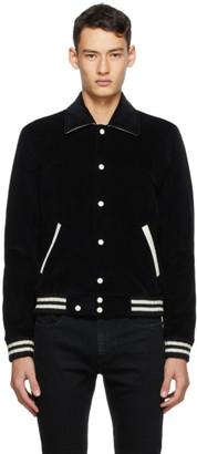 Saint Laurent Black Corduroy Teddy Bomber Jacket