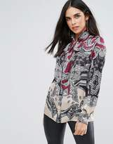 Forever Unique Printed Pussey Bow Blouse