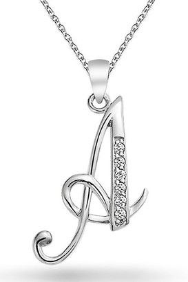 Bling Jewelry Sterling Silver Pave CZ Script Initial Pendant Necklace