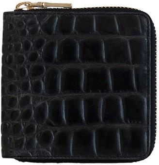 Vash Atlas Zip Wallet In Black Croc Leather
