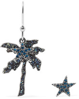 Marc Jacobs Palm Tree Silver-tone Crystal Earrings - Blue