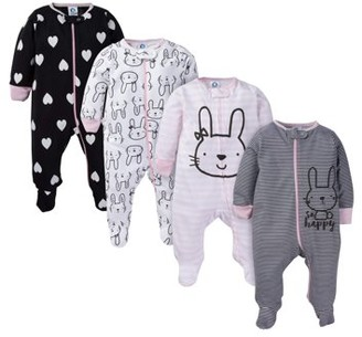 Gerber Baby Girl Zip Front Sleep 'N Play Pajamas with Mitten Cuffs, 4-Pack