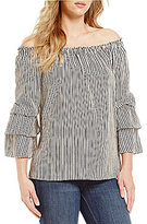Bobeau Stripe Off-The-Shoulder Double Layer Ruffle Sleeve Top