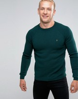 Farah Jumper With Textured Self Stripe In Slim Fit Green