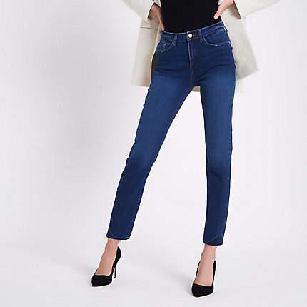 River Island Womens Dark Blue Casey raw hem slim fit jeans