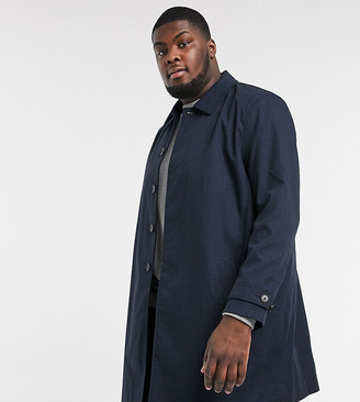 Burton Menswear Big & Tall mac in navy gingham