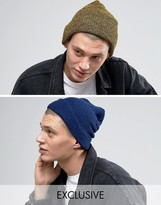 Reclaimed Vintage Inspired Oversized Beanie 2 Pack Blue/Yellow