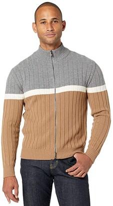 Eleventy Full Zip Color-Block Mock Neck Sweater (Grey/Ivory/Camel) Men's Clothing