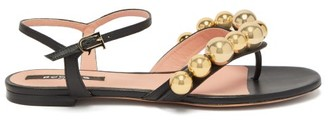 Rochas Bead-embellished Leather Sandals - Black Gold