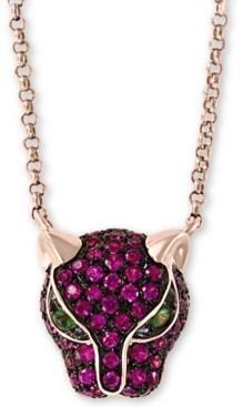 "Effy Certified Ruby (1/2 ct.t.w.) and Tsavorite Accent Panther 18"" Pendant in 14K Yellow Gold"