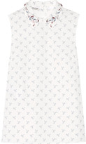 Miu Miu Crystal-embellished Printed Cotton-poplin Shirt - White