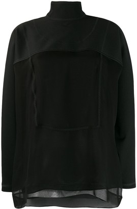 Valentino Sheer-Panel Long-Sleeved Blouse