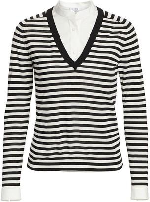 Akris Punto Poplin Layered Striped Knit Sweater