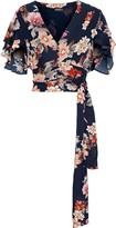 Nicholas Tie-front Ruched Floral-print Silk-chiffon Top