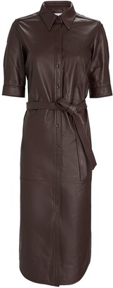 Frame 70s Leather Midi Shirt Dress