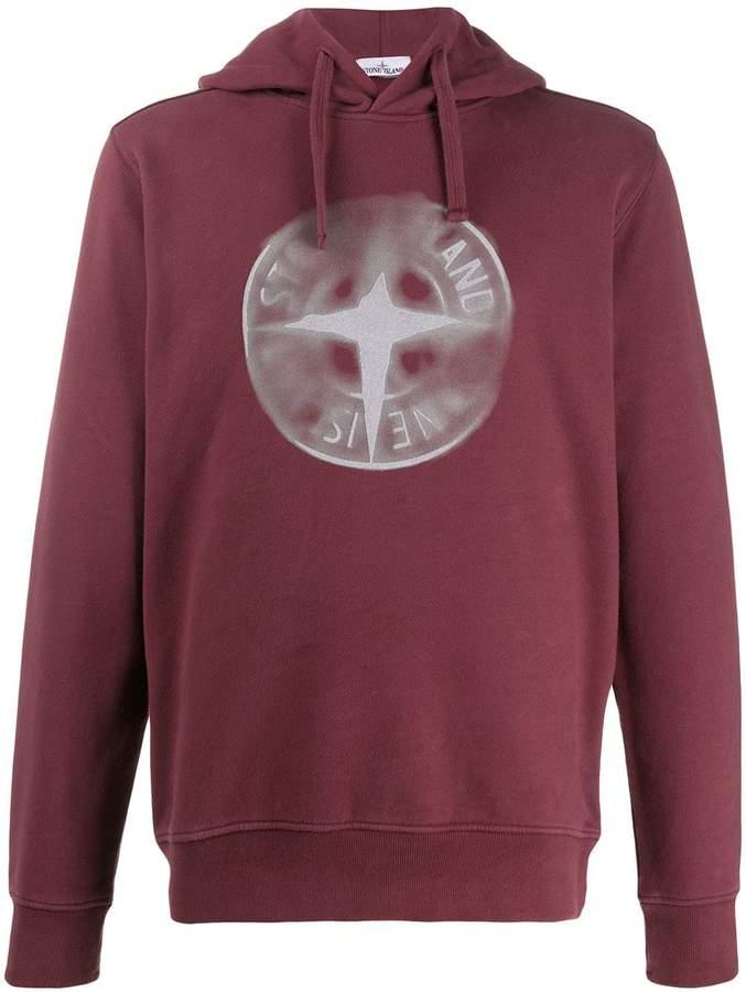 Stone Island logo print hoodie