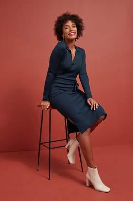 Next Womens Navy Collar Knitted Dress - Blue