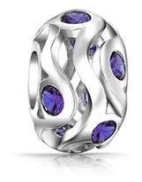 Bling Jewelry Sterling Silver Simulated Amethyst Cz Bead Charm.