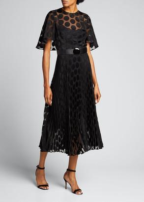 Akris Punto Polka Dot Cape Pleated Midi Dress w/ Leather Belt