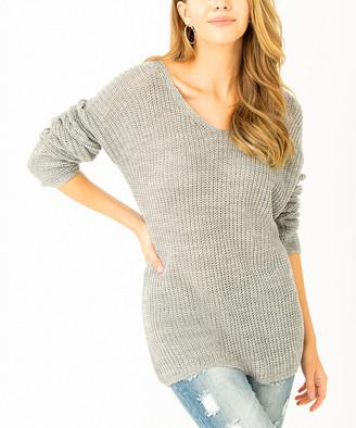 Angele Mode Women's Pullover Sweaters Grey - Gray V-Neck Dolman Sweater - Women