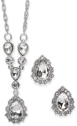 "Charter Club Silver-Tone Crystal Pendant Y-Necklace & Stud Earrings Boxed Set, 17"" + 2"" extender"