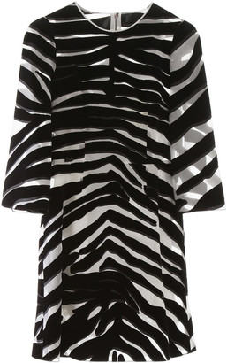 Dolce & Gabbana FLOCKED ZEBRA PRINT MINI DRESS 40 White, Black Silk