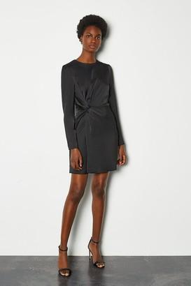Karen Millen Ruche Side Long Sleeve Short Dress