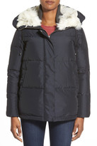 Bernardo Hooded Down & Feather Fill Parka with Faux Fur Trim