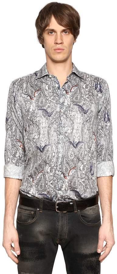 Etro Bats & Paisley Cotton Shirting Shirt
