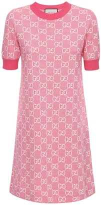 Gucci Gg Jacquard Knit Wool & Cotton Dress