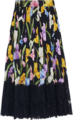 Dolce & Gabbana Pleated Floral-print Silk-blend And Lace Midi Skirt
