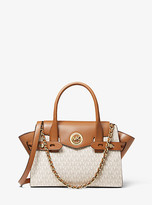 Michael Kors Carmen Small Logo And Leather Belted Satchel