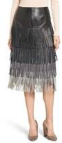 Olivia Palermo + Chelsea28 Women's Leather Fringe Skirt