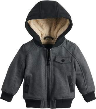 Urban Republic Toddler Boy Wool Varsity Sherpa Hooded Heavyweight Jacket