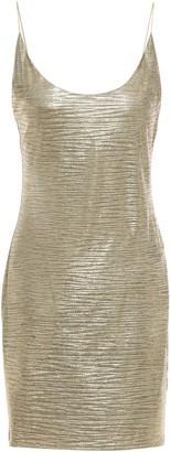Alice + Olivia Coated Metallic Stretch-jersey Mini Slip Dress