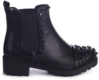 Linzi REENA - Black Nappa Ankle Boot With Studded Toe And Side Detail